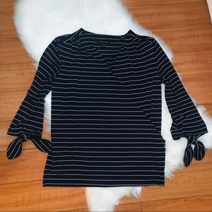 Banana Republic Navy Striped Tie Sleeve Blouse M